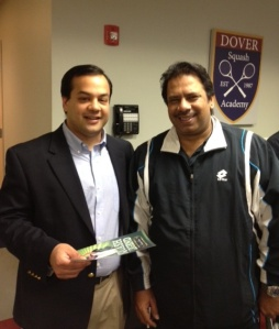 Jahangir Khan and I at Dover Squash and Fitness in Natick, Massachusetts, April 2012.
