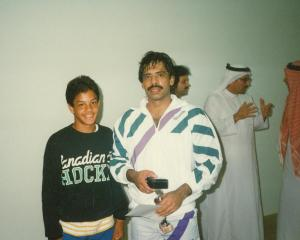 Jahangir Khan and I after his exhibition match at Arabian Homes in Jeddah, Saudi Arabia. 1989.