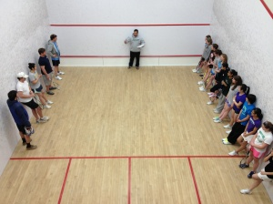 Introductions at 2013 Concord Academy Girls Varsity Squash vs. Faculty-Staff Team. Photo credit: Ben Stumpf