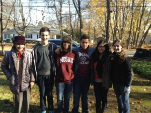Grateful senior Concord resident with Concord Academy students.