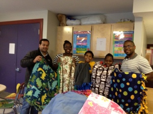Donating Fleece Blankets to Brookview House in Dorchester, MA.