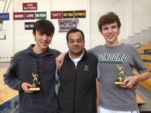 Daniel Tsui (left) and Mark Styles (right) with top 5 finishes at the New England Interscholastic Squash Association's B Division Championships at Avon Old Farms School (Avon, CT).