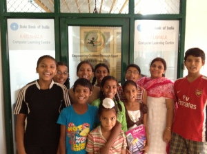 First Class of students at the Khelshala Computer Learning Center donated by State Bank of India.