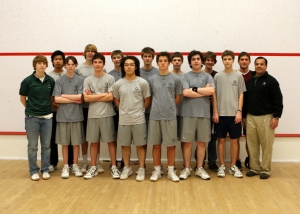 2010-11 Concord Academy Boys Varsity Squash with Coaches, Danielle Balocca and Tariq Mohammed.
