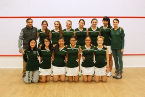 2013-14 Concord Academy Girls Varsity Squash with Coaches, Charlotte Whitmore and Tariq Mohammed.