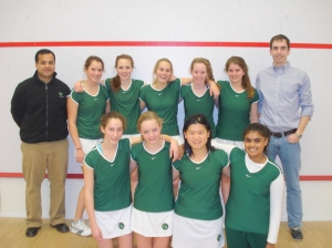 2010-11 Concord Academy Girls Varsity Squash with Coaches, Josh Parker and Tariq Mohammed