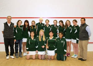 2011-12 Concord Academy Girls Varsity Squash with Coaches, Jon Ross and Tariq Mohammed