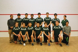 2013-14 Concord Academy Boys Varsity Squash with Coaches, Charlotte Whitmore and Tariq Mohammed.