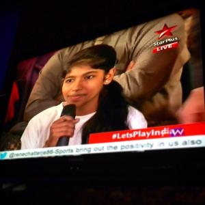 Priya Gupta, Head Girl at Khelshala on National TV in India.